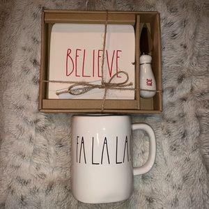 Rae Dunn FaLaLa Mug & Believe Plate